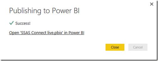 SSAS Multidimensional Power BI Successful Publish
