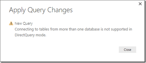 Power BI connectin to different datanases is disables in DirectQuery