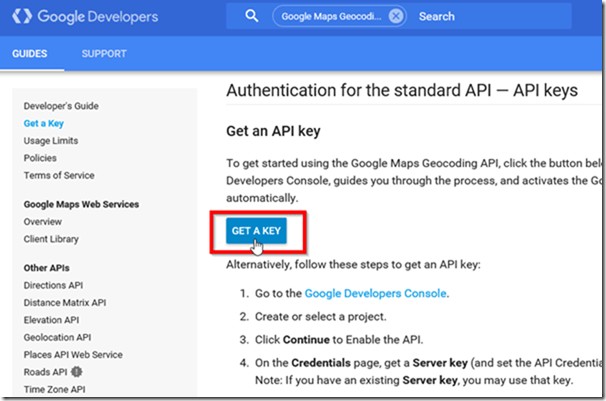 Get Google Maps API Key