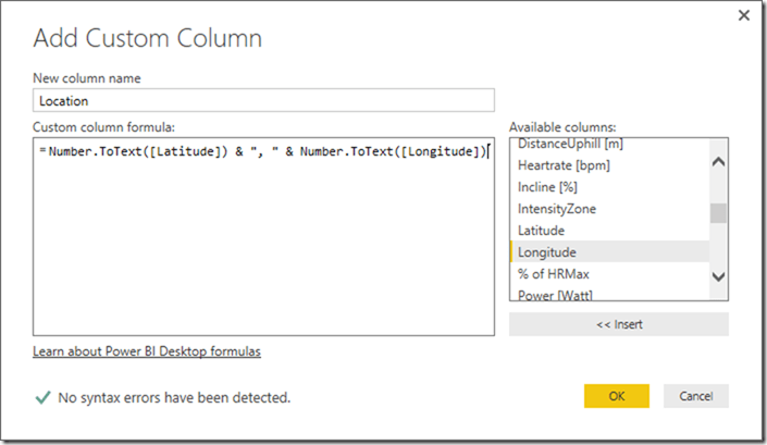 Creating Location from Latitude and Longitude in Power BI