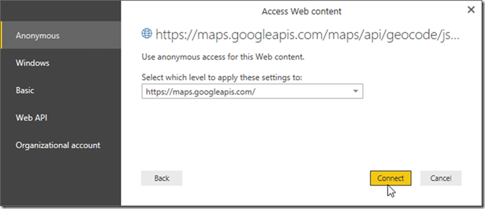 Power BI Desktop Access Web Content