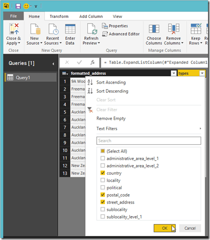 Power BI Desktop Query Editor Filter Column