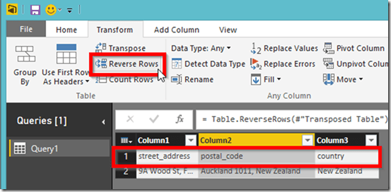 Power BI Desktop Reverse Rows