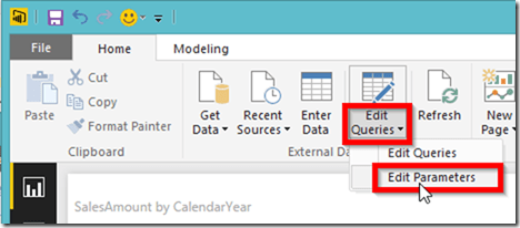 Power BI Desktop Edit Parameters