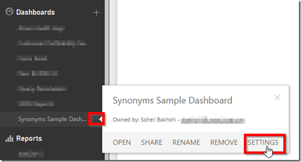 Power BI Service Dashboard Settings