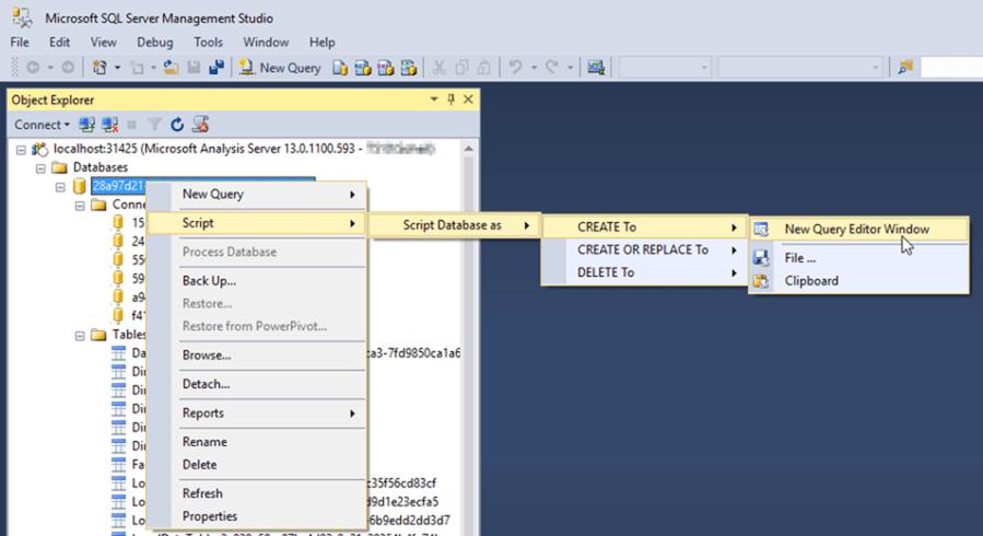 Script Power BI Desktop Model in SSMS