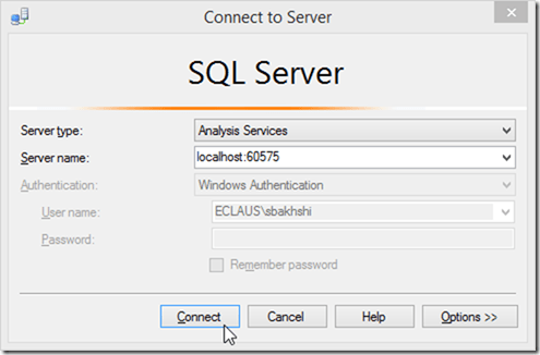 Connecting to Power BI Desktop Model from SSMS