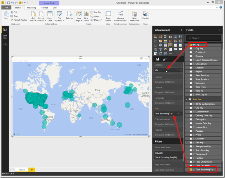 Power BI Desktop Map