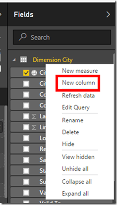 Power BI Desktop Calculated Column