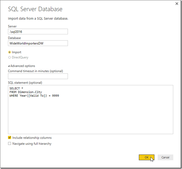Power BI Desktop Get Data SQL Statement