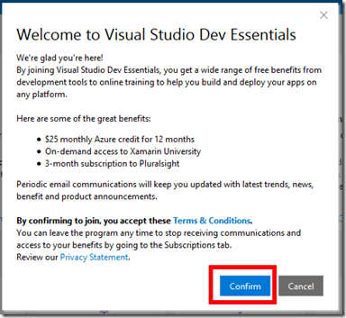 Confirm Visual Studio Dev Essentials Terms and Conditions
