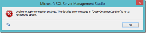 Unable to apply connection settings. The detailed error message is: 'QueryGovernorCostLimit' is not a recognized option