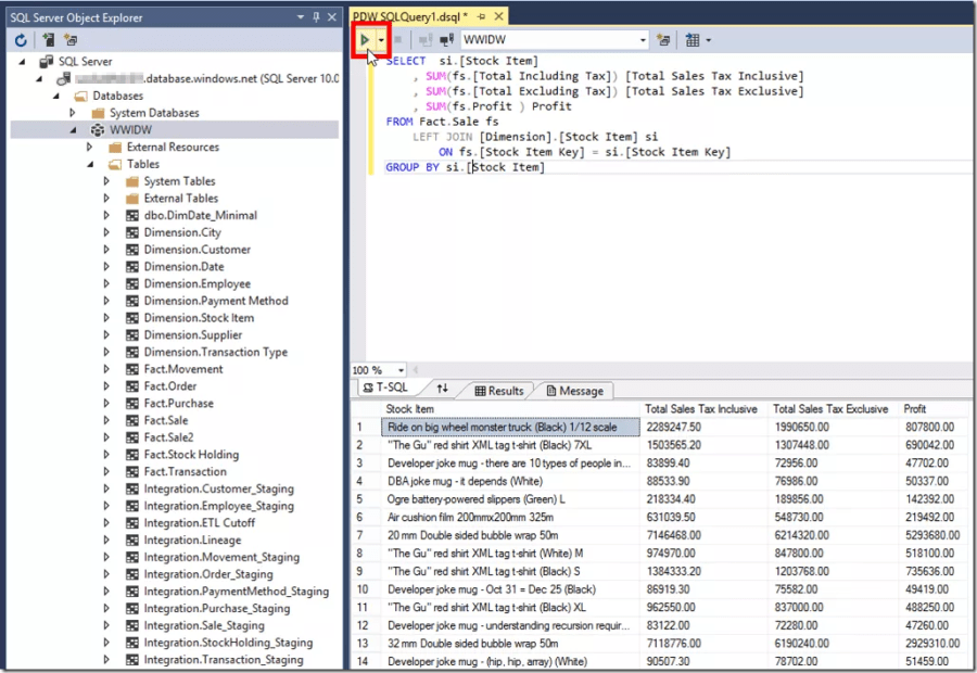 Query Azure SQL Data Warehouse in SSDT 2015