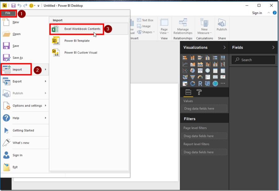 Power BI Desktop Import Excel Workbook Contents