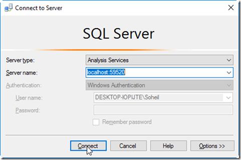 SSMS Connect to Power BI Desktop Model