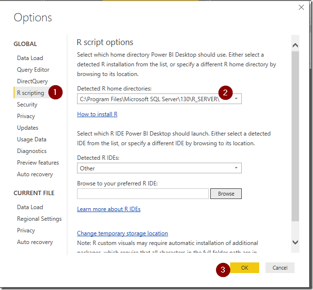 Changing R Home Directory in Power BI Desktop Options