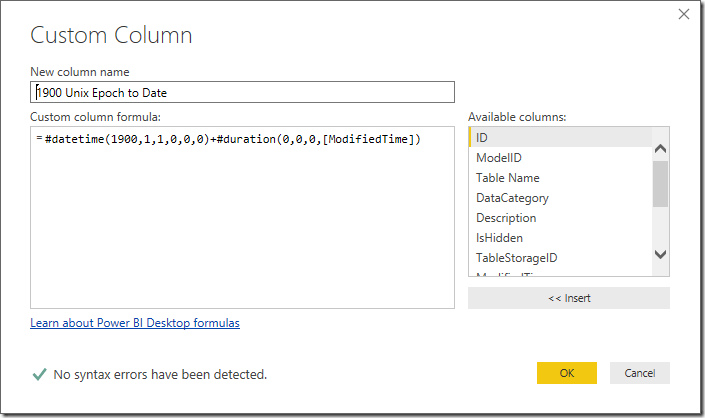 Convert Unix Epoch Timestamp to Date in Power BI