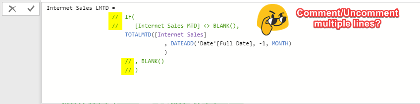 Quick Tips: Comment/Uncomment Multiple Lines in DAX Scripts