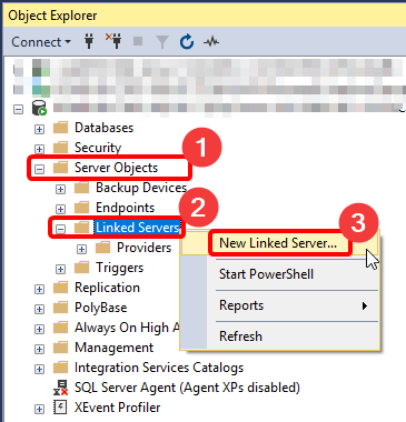 Creating New Linked Server in SSMS