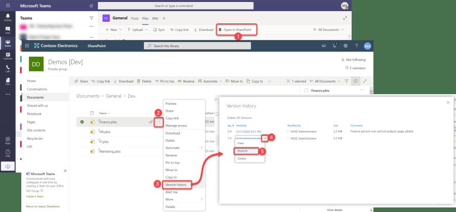 Restoring an Older Version of a File in Microsoft Teams