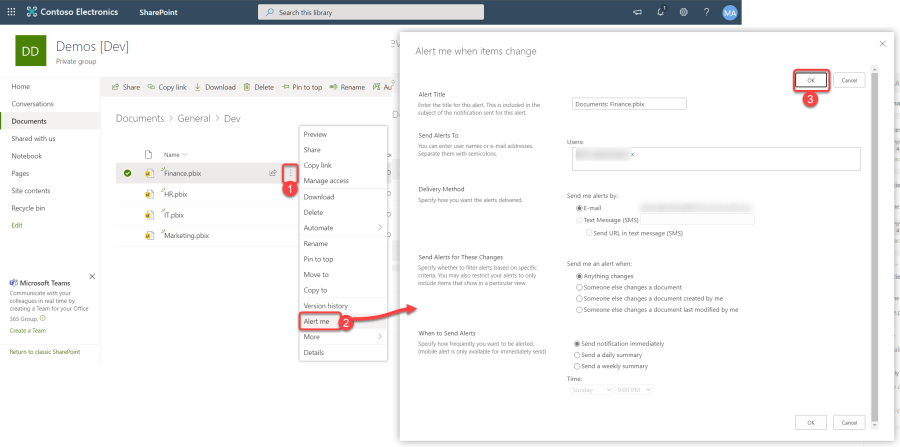 Set Alters in SharePoint Online