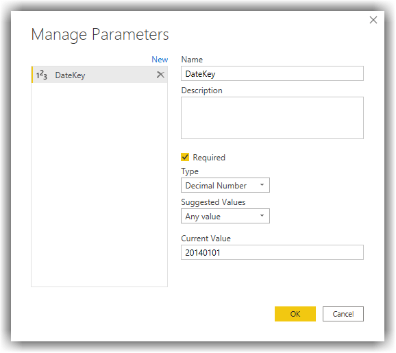 Creating New Query Parameter in Power BI Desktop