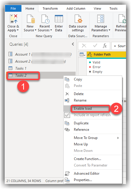 Disabling Query Data Load in Power Query