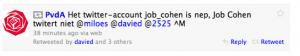 Bericht nav fakebericht Twitteraccount Cohen