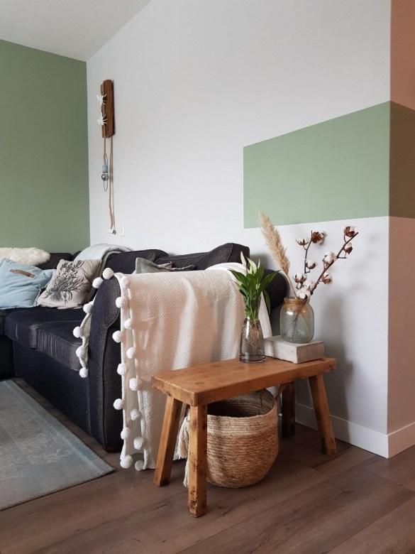 Kleurvlak muur, histor damp, DIY lamp, kleurvlakken verven