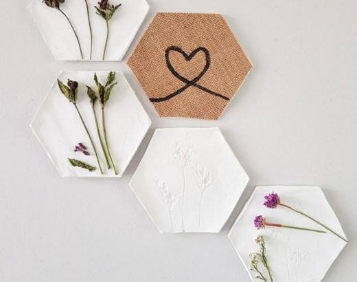 Hexagons met droogbloem