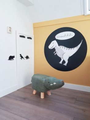 Dinokrukje, muurcirkel, leren greepjes. shoplog kinderkamer dinokamer maken