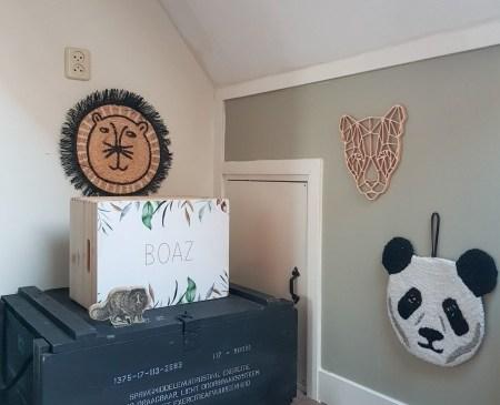 houten kist voor kinderkamer, junglekamer
