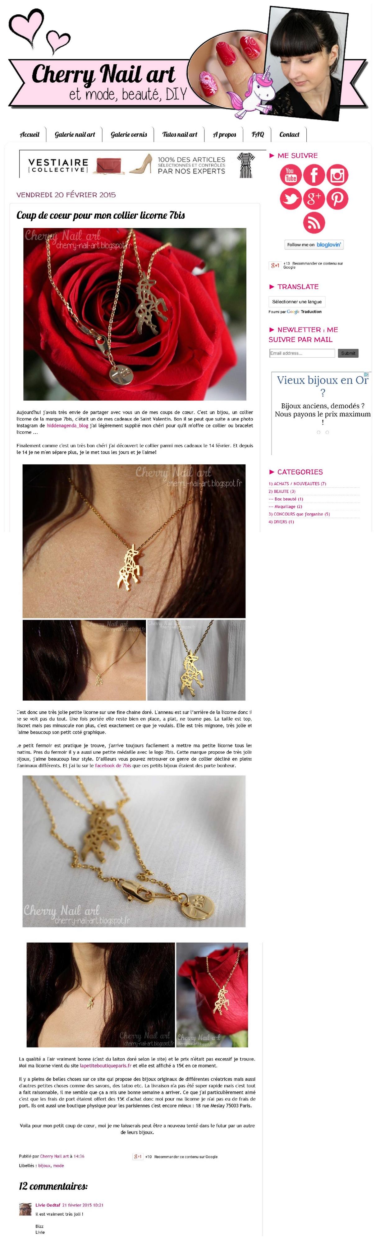 Cherry Nail art - le blog_ Coup de coeur pour mon collier licorne 7bis long