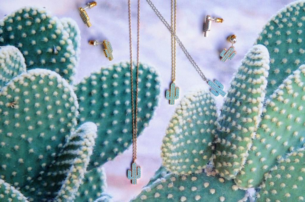 Bijoux 7bis Paris - Set de bijoux collier boucle d'oreille et bracelet doré cactus Collection Oasis