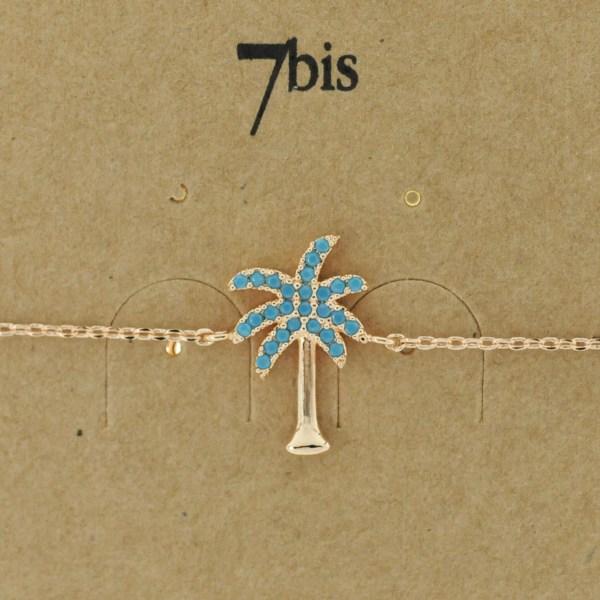 Bijoux 7bis Paris - Bracelet doré palmier collection Oasis