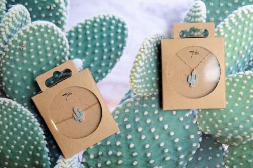 Bijoux 7bis Paris - Set de bijoux collier et bracelet cactus doré Collection Oasis