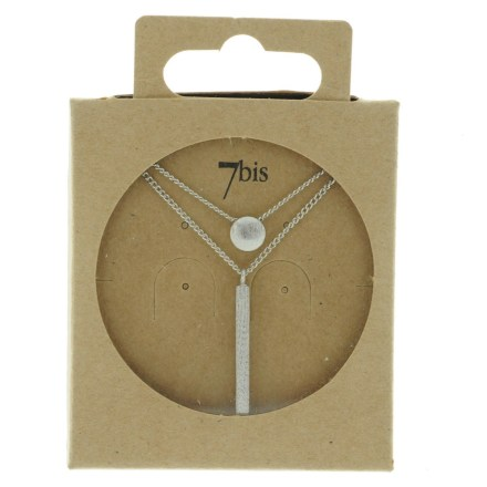 170086ARG Collier Geometrique Double Rang Rond Rectangle