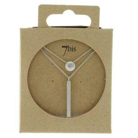 170086ARG Collier Geometrique Double Rang Rond Rectangle
