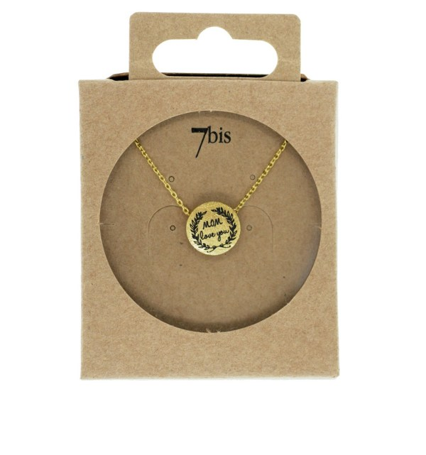 170555DOR Collier Médaille Doré Message Mom Love You