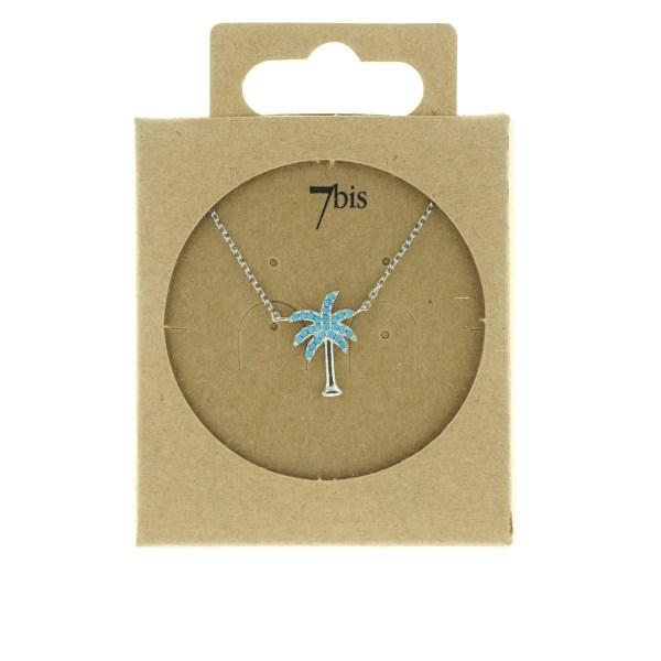 170765TURARG Collier Palmier Argenté Strassé Turquoise