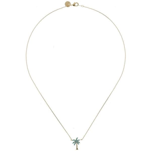 170765TURDORROS Collier Palmier Doré Rose Strassé Turquoise Collection Oasis