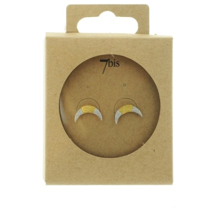 270761ARG Boucles D'oreilles Croissant De Lune Argenté Bicolore Géométrique