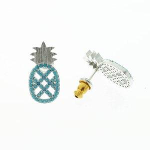270763TURARG Boucles D'oreilles Ananas Argenté Strassé Turquoise