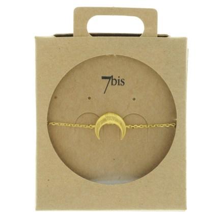 370756DOR Bracelet Croissant De Lune Doré Corne Ronde