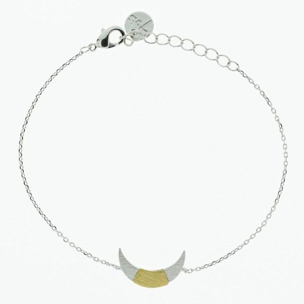370761ARG Bracelet Croissant De Lune Argenté Bicolore Géométrique