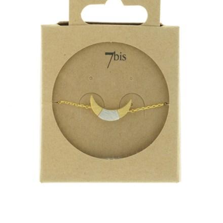 370761DOR Bracelet Croissant De Lune Doré Bicolore Géométrique