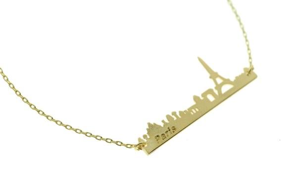 123796DOR Collier Skyline Doré Tour Eiffel Paris