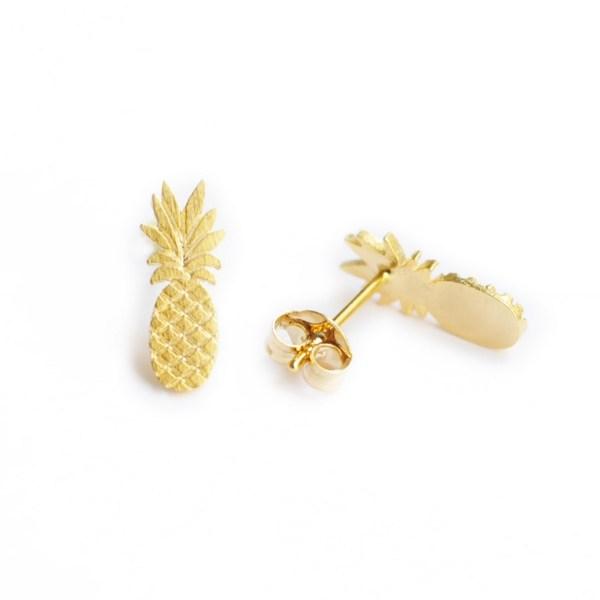 237345DOR Boucle D'oreilles Ananas Doré Fruit-plat Exotique