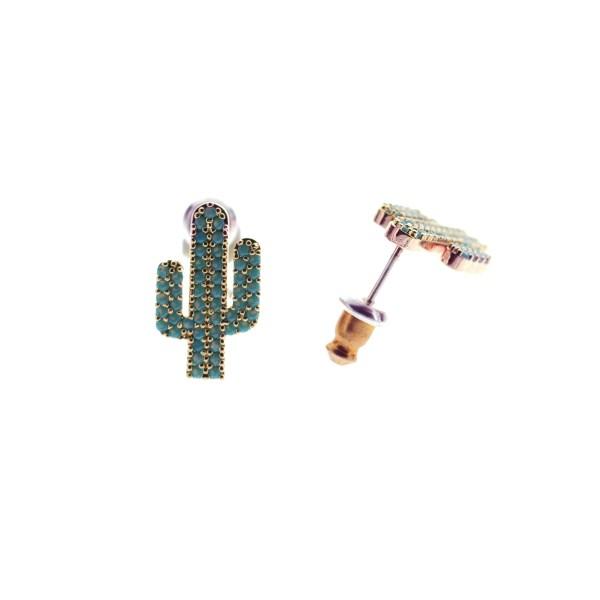 270764TURDORROS Boucles D'oreilles Cactus Doré Rosé Strassé Turquoise