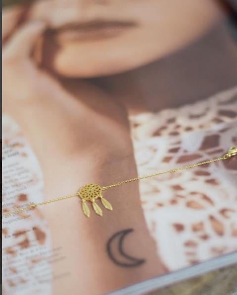 323797DOR Bracelet Dreamcatcher Doré Plumes Indien